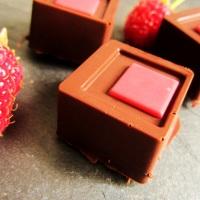 Schokoladenpralinen mit Himbeerfüllung