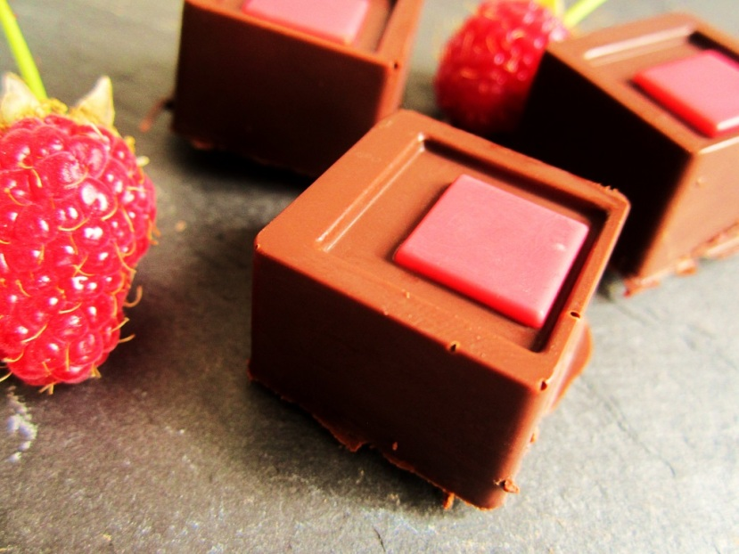 Chocolates with raspberry filling