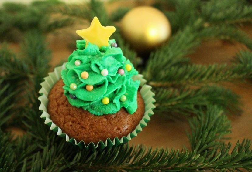 Weihnachtsbaum-Cupcake