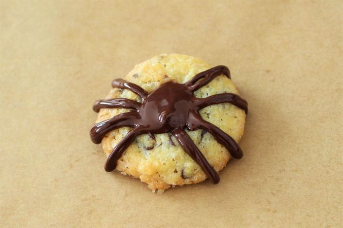 Wenn man noch etwas Schokolade in die Mulde füllt, kann man auch hier aufhören - ist ja schon eine Spinne.