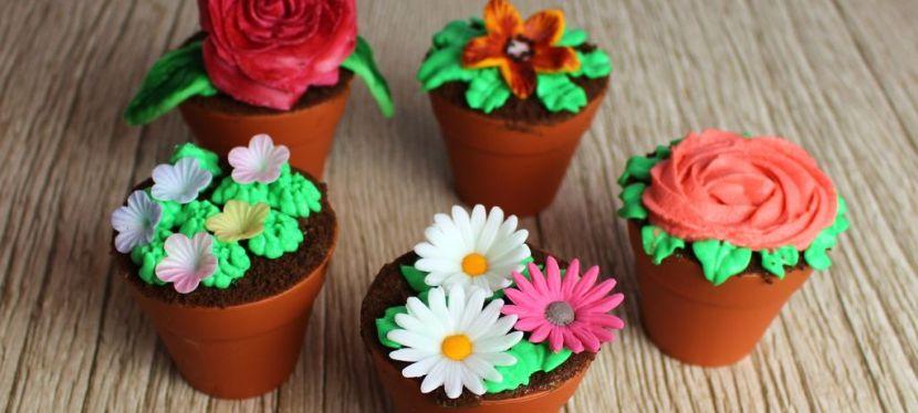 Cupcakes im Blumentopf